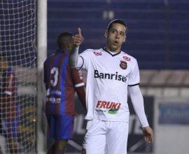 Artilheiro Ramon recebeu grande passe de Felipe Garcia e marcou o gol da vitória na Serra, no amistoso com o Caxias. Foto: Jonathan Silva