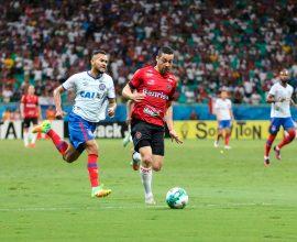 Ramon teve boas chances para marcar o gol Xavante, mas Brasil não superou o Bahia e foi derrotado na Fonte Nova. Foto: Jonathan Silva